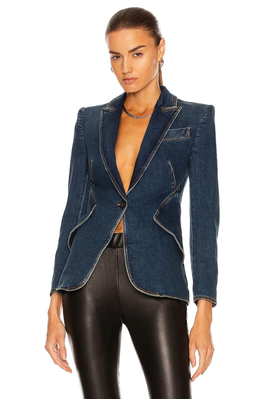 Image 1 of Alexander McQueen Denim One Button Jacket in Dark Blue Wash