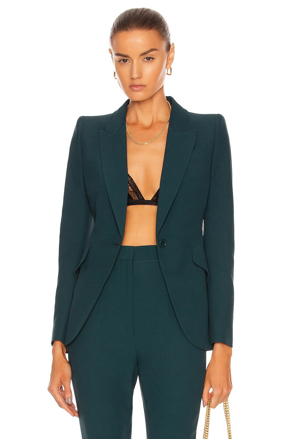 Image 1 of Alexander McQueen One Button Jacket in Forest Green