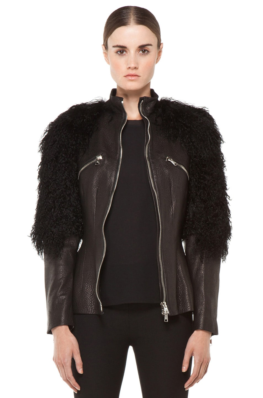 Image 1 of Alexander McQueen Fur Sleeves Biker Jacket in Black