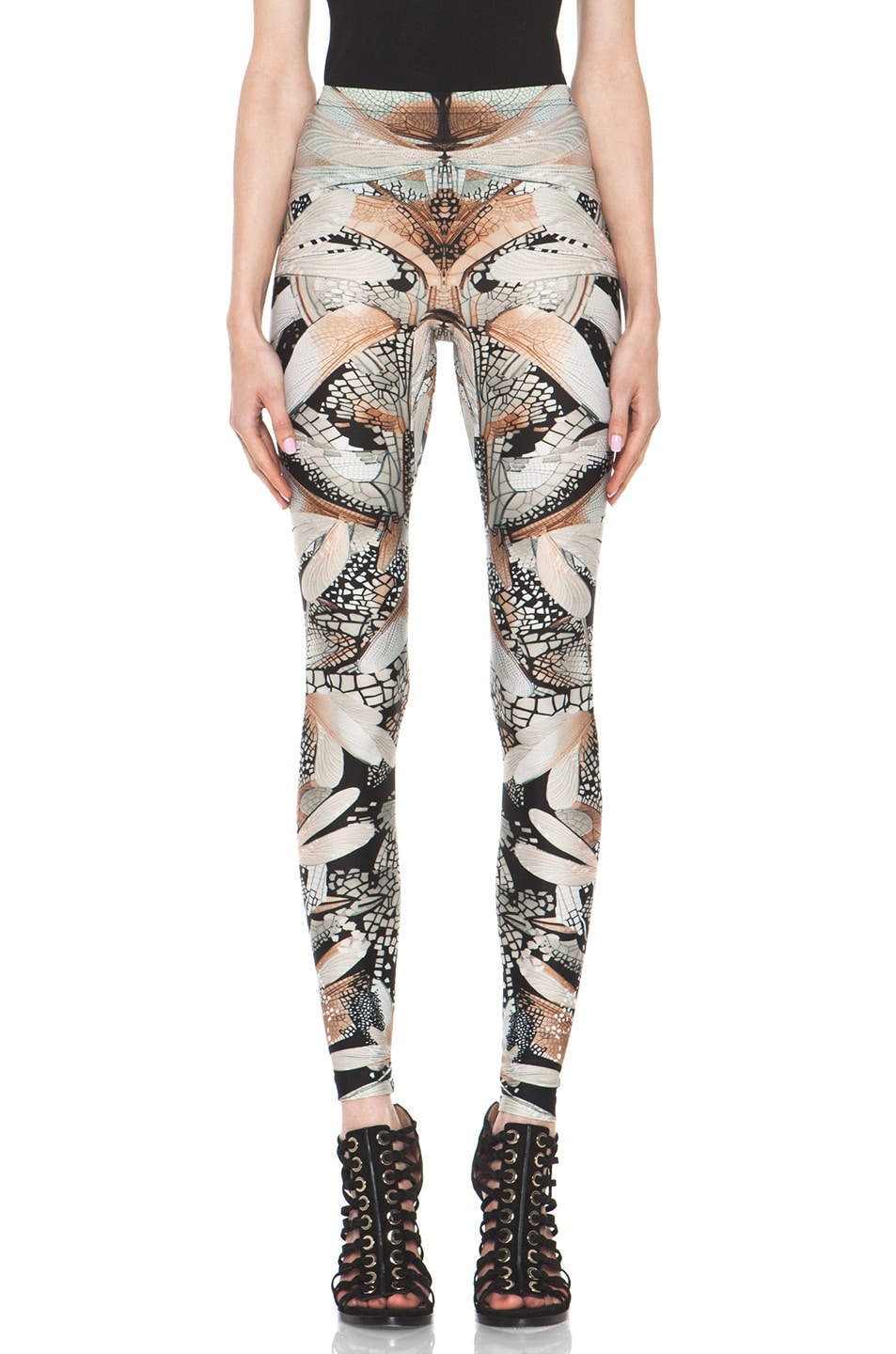 Image 1 of Alexander McQueen Dragonfly Flower Legging in Black & Grey