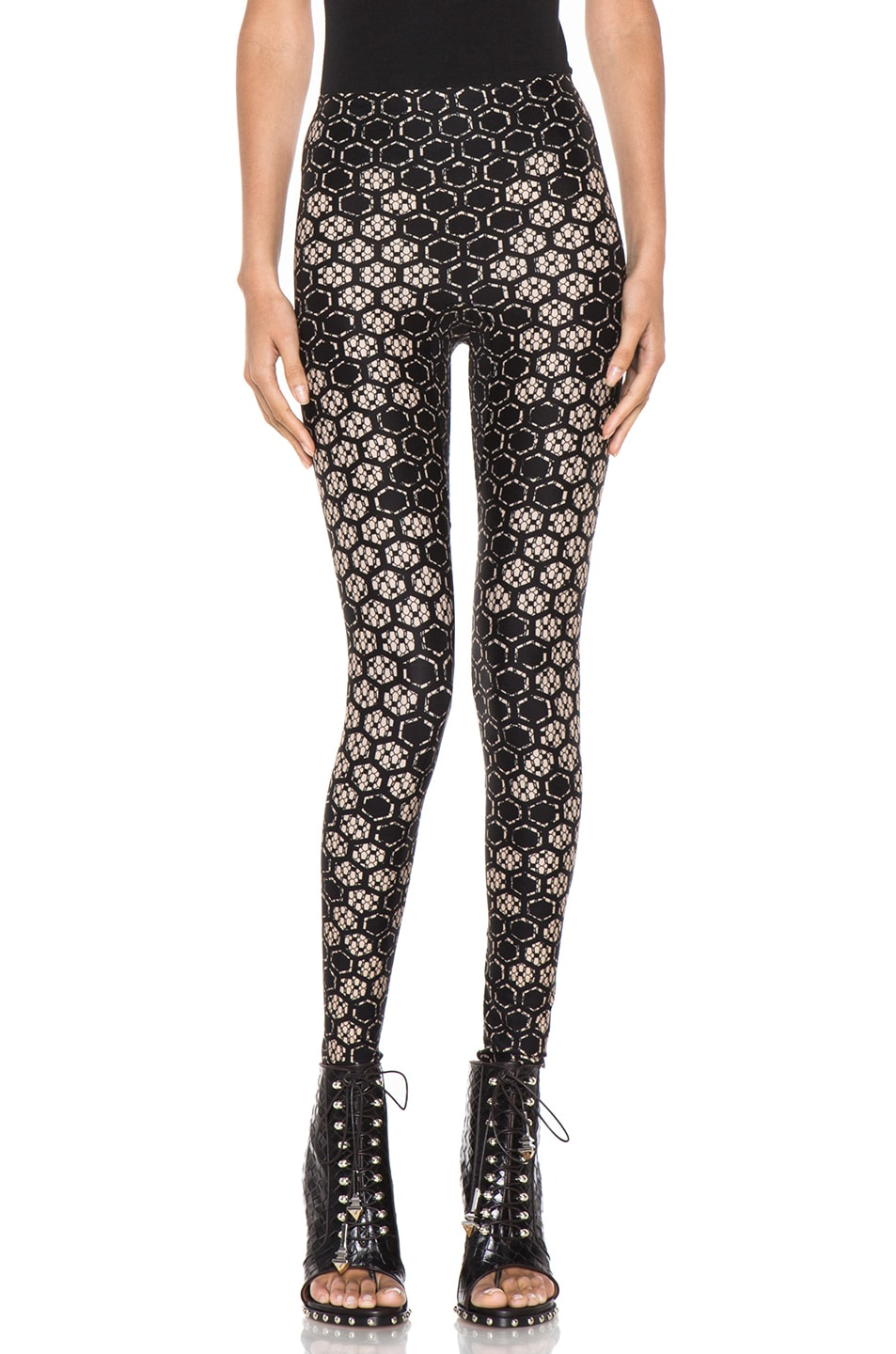 Image 1 of Alexander McQueen Honeycomb Legging in Flesh & Black