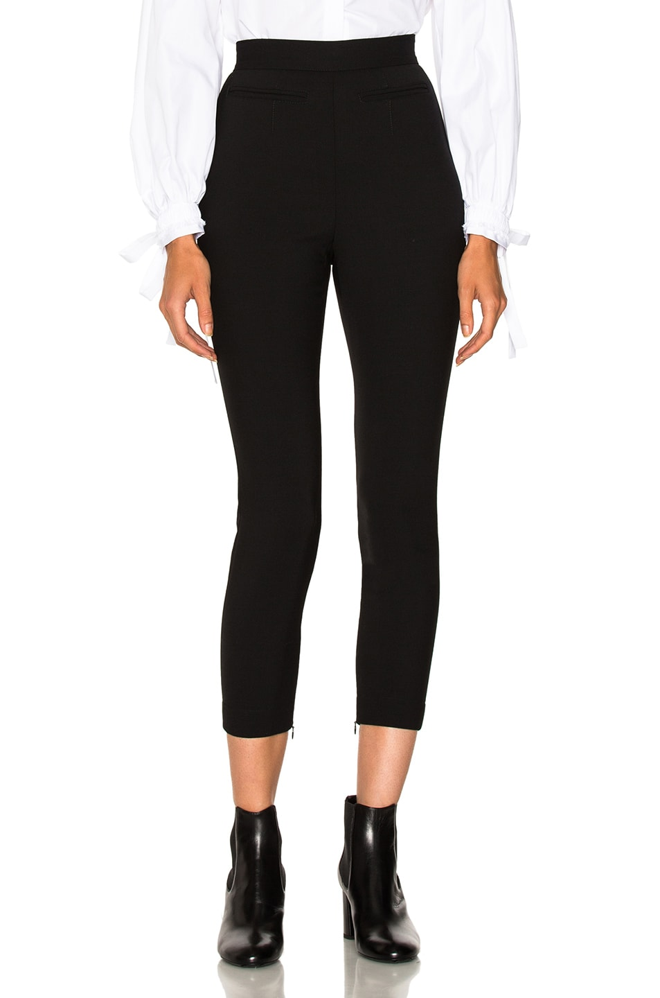 Image 1 of Alexander McQueen Stretch Wool High Waisted Pants in Black