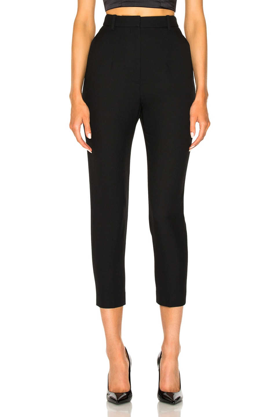 Image 1 of Alexander McQueen Light Wool Silk High Waisted Cigarette Trousers in Black