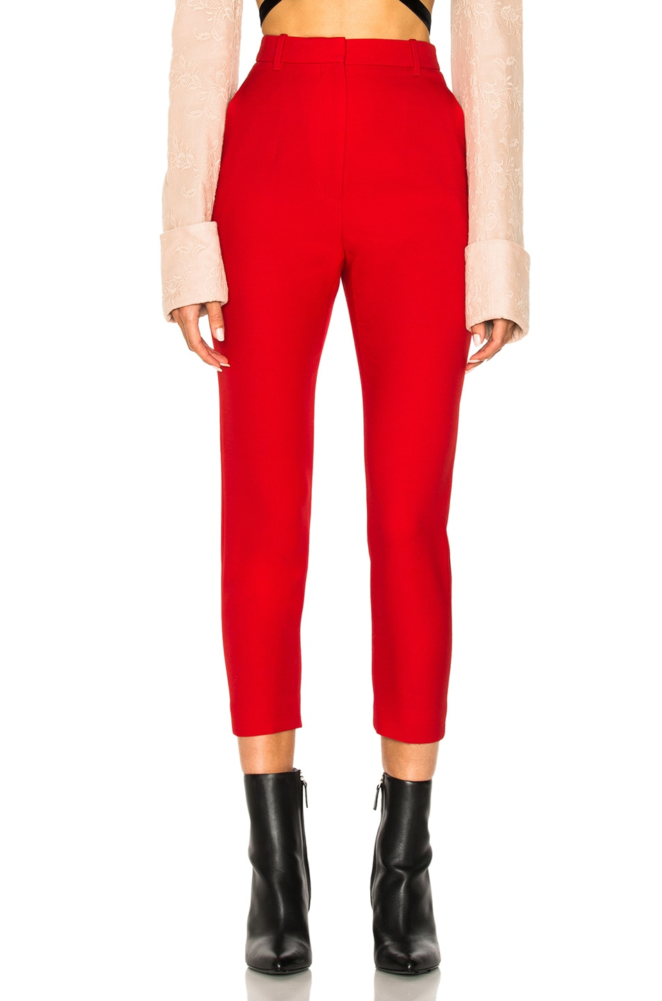 Image 1 of Alexander McQueen Light Wool Silk High Waisted Cigarette Trousers in Crimson