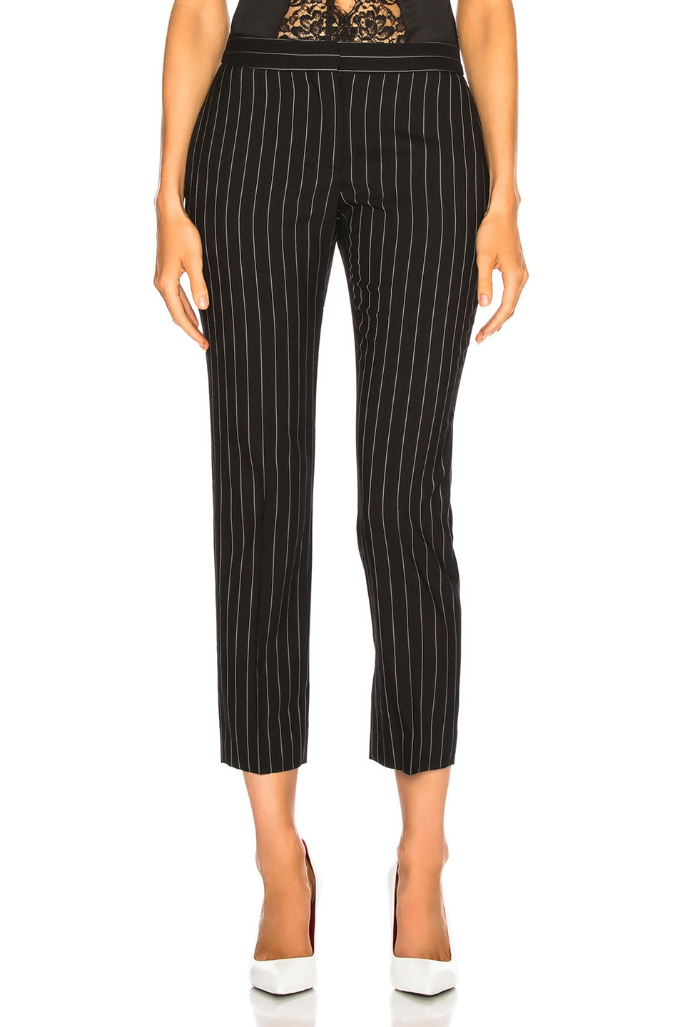 Image 1 of Alexander McQueen Pinstripe Cigarette Trousers in Black & White