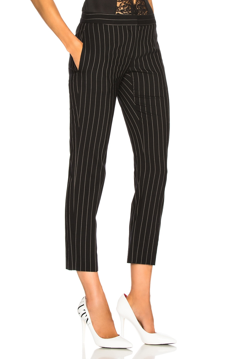Image 2 of Alexander McQueen Pinstripe Cigarette Trousers in Black & White