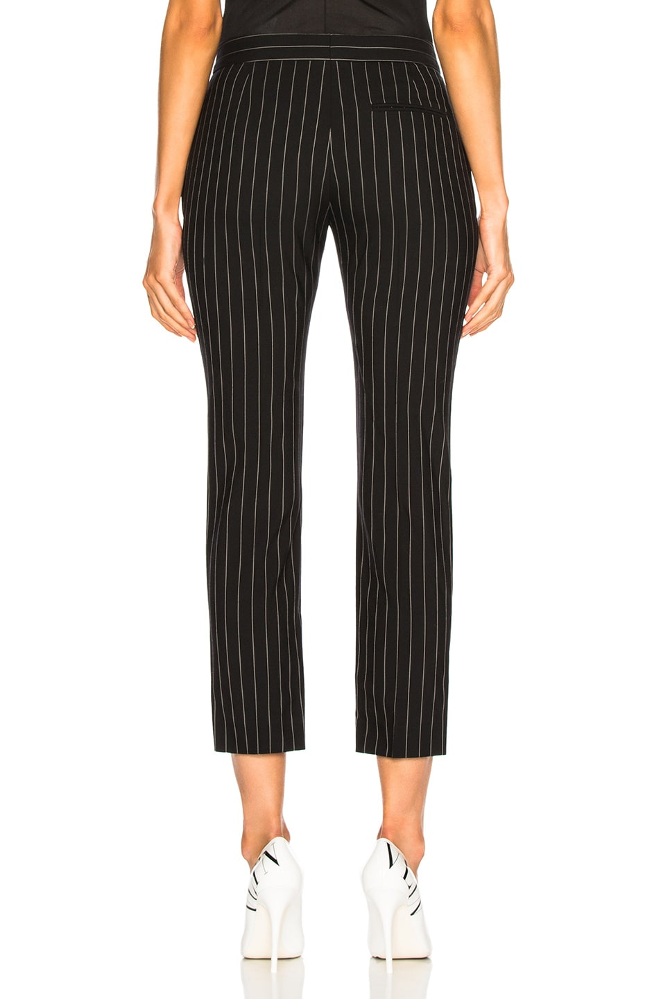 Image 3 of Alexander McQueen Pinstripe Cigarette Trousers in Black & White