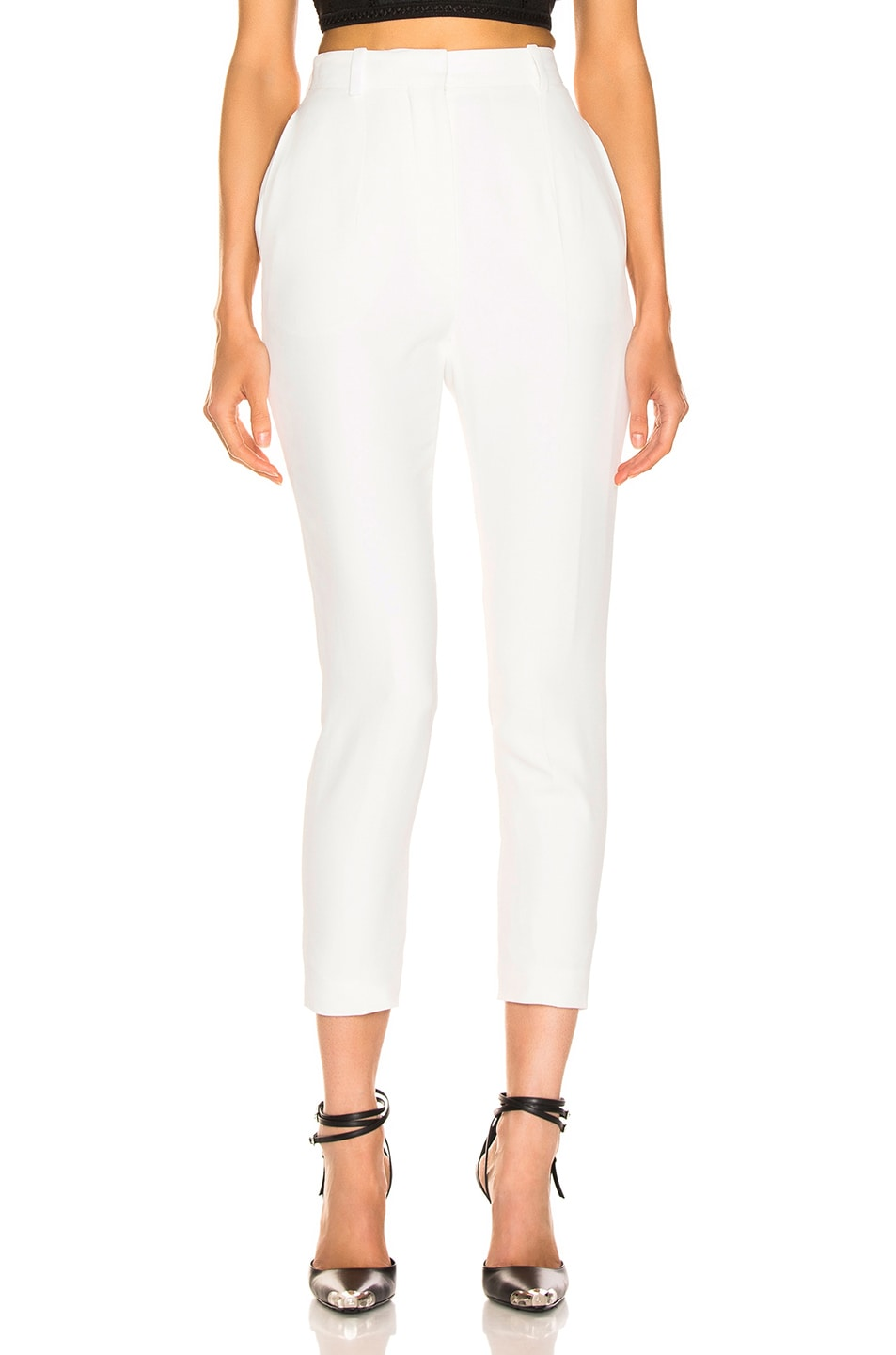Image 1 of Alexander McQueen High Waisted Cigarette Pant in Ivory
