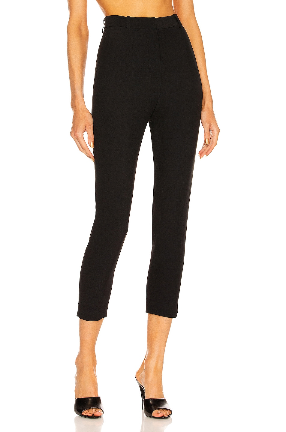 Image 1 of Alexander McQueen High Waisted Cigarette Pant in Black