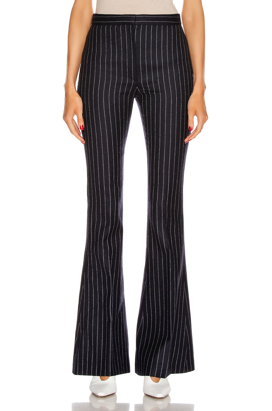 Image 1 of Alexander McQueen Pinstripe Sharp Flare Pant in Navy & Ivory