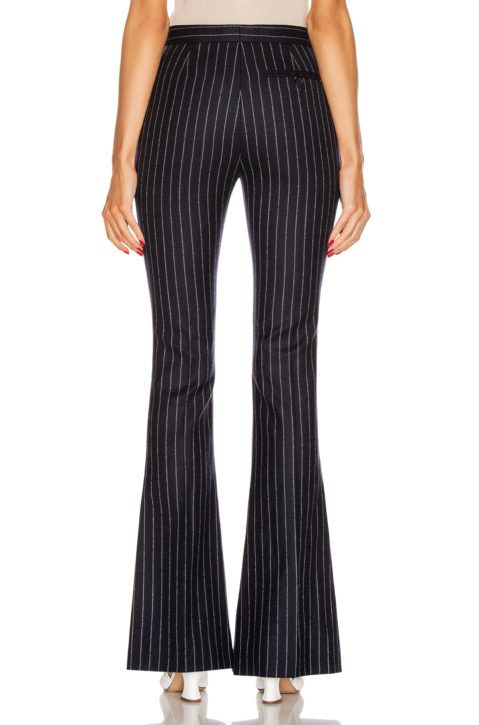 Image 3 of Alexander McQueen Pinstripe Sharp Flare Pant in Navy & Ivory