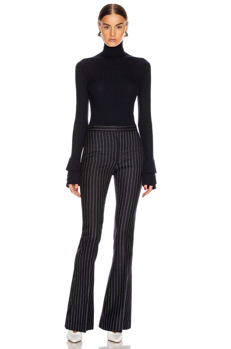 Image 4 of Alexander McQueen Pinstripe Sharp Flare Pant in Navy & Ivory