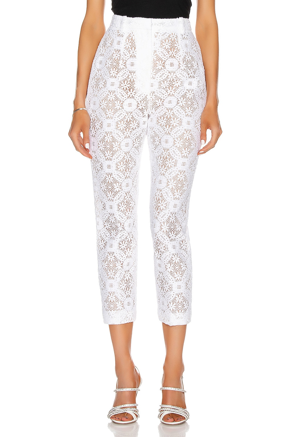 Image 1 of Alexander McQueen High Waist Lace Pant in Optical White