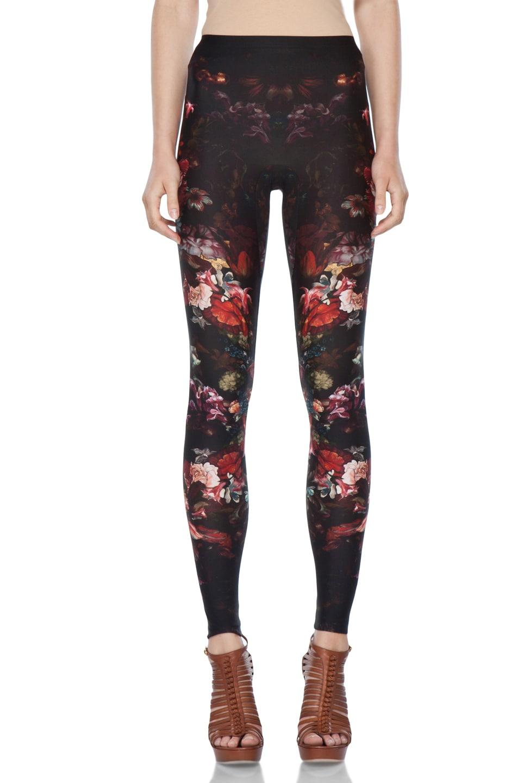 Image 1 of Alexander McQueen Floral Print Legging in Black Multi