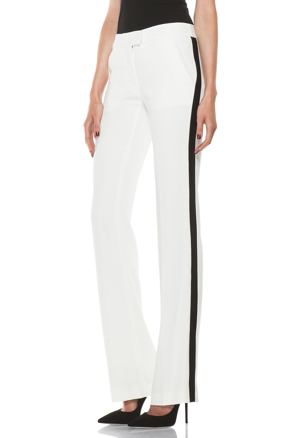 Image 1 of Alexander McQueen Narrow Viscose-Blend Tuxedo Trouser in Ivory