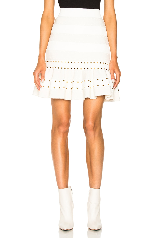 Image 1 of Alexander McQueen Eyelet Detail Flared Mini Skirt in Bone