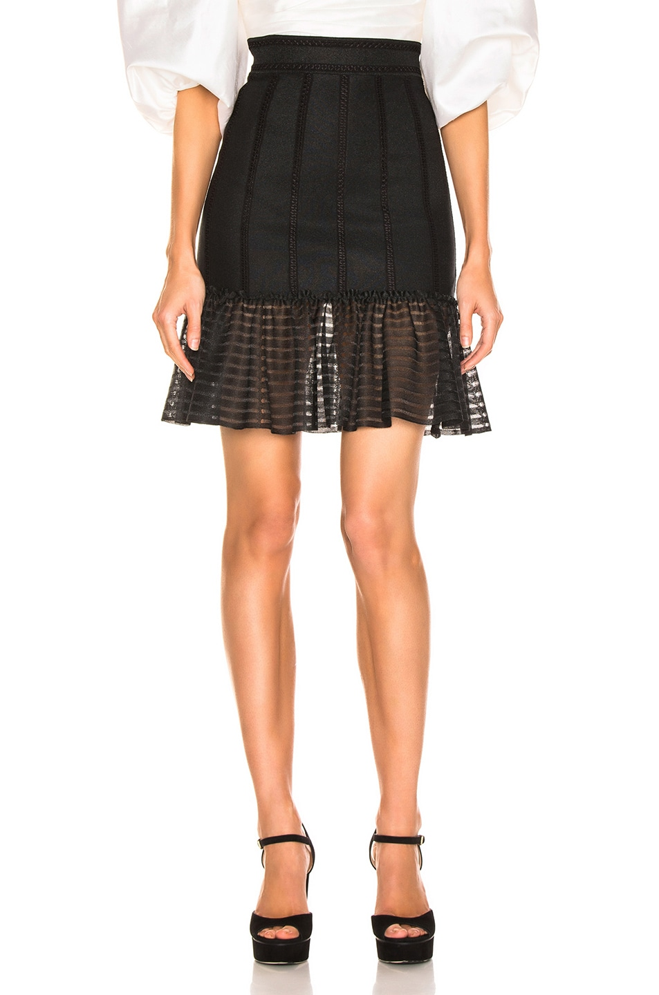 Image 1 of Alexander McQueen Mini Flute Skirt in Black