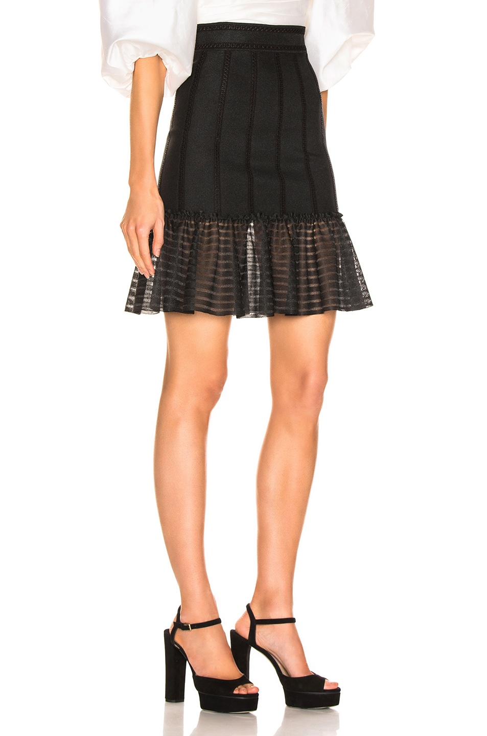 Image 2 of Alexander McQueen Mini Flute Skirt in Black