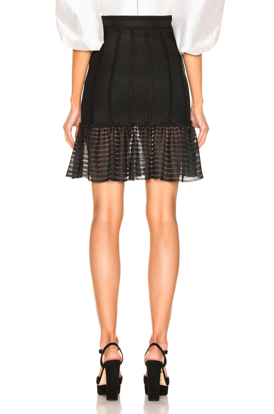 Image 3 of Alexander McQueen Mini Flute Skirt in Black