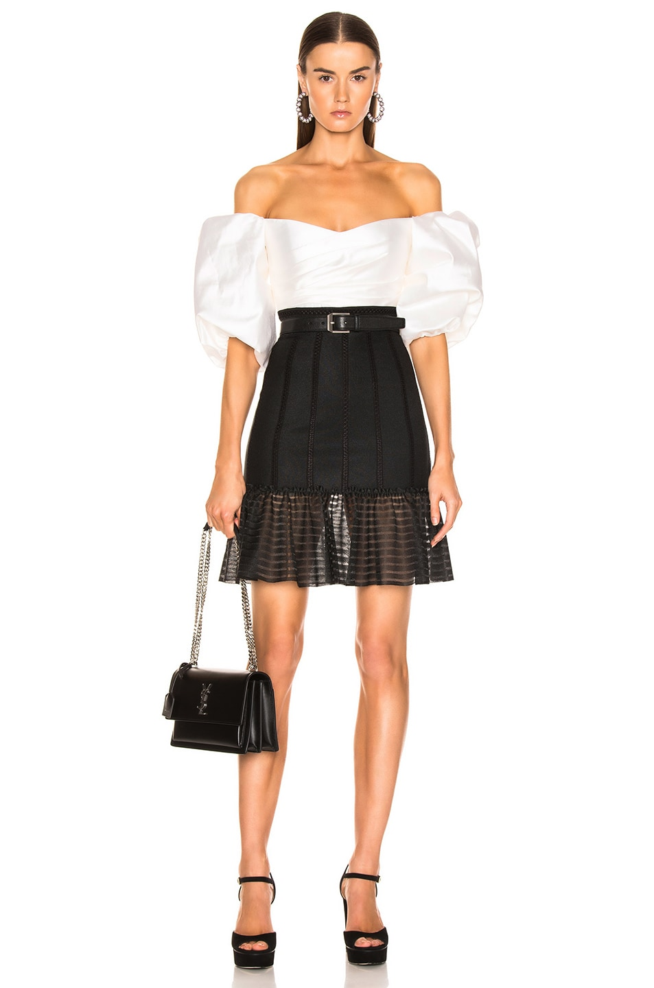 Image 4 of Alexander McQueen Mini Flute Skirt in Black