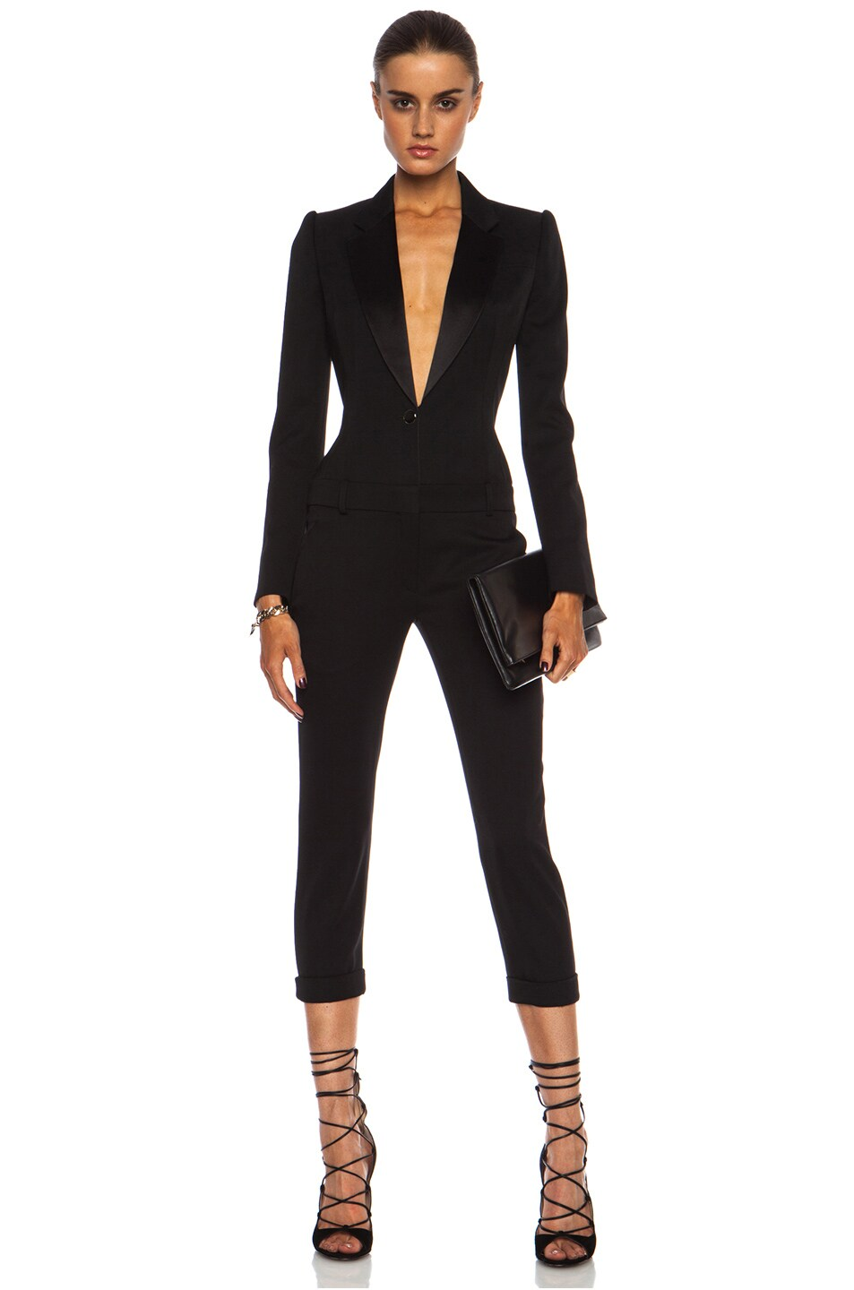 46057635bf7d Image 1 of Alexander McQueen Cigarette Tuxedo Virgin Wool Jumpsuit in Black