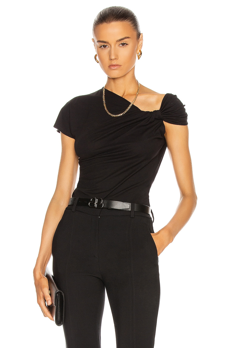 Image 1 of Alexander McQueen Knotted Drop Top in Black