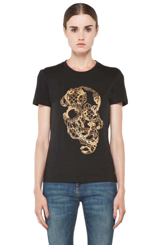 Image 1 of Alexander McQueen Beaded Skull Tee in Black