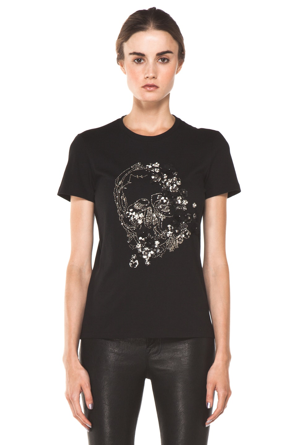 Image 1 of Alexander McQueen Embroidered Tee in Black