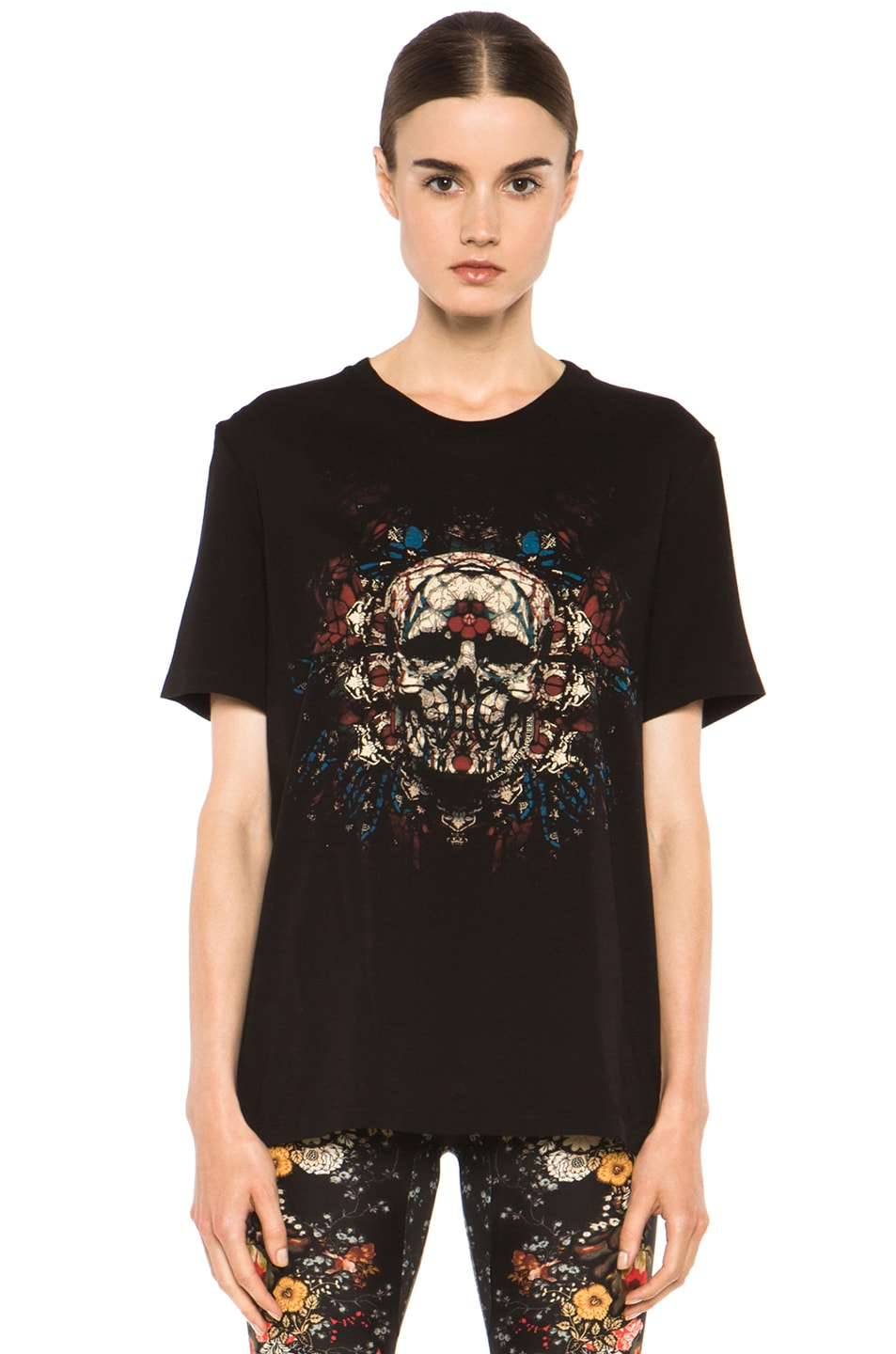 Image 1 of Alexander McQueen Stained Glass Skull Tee in Black