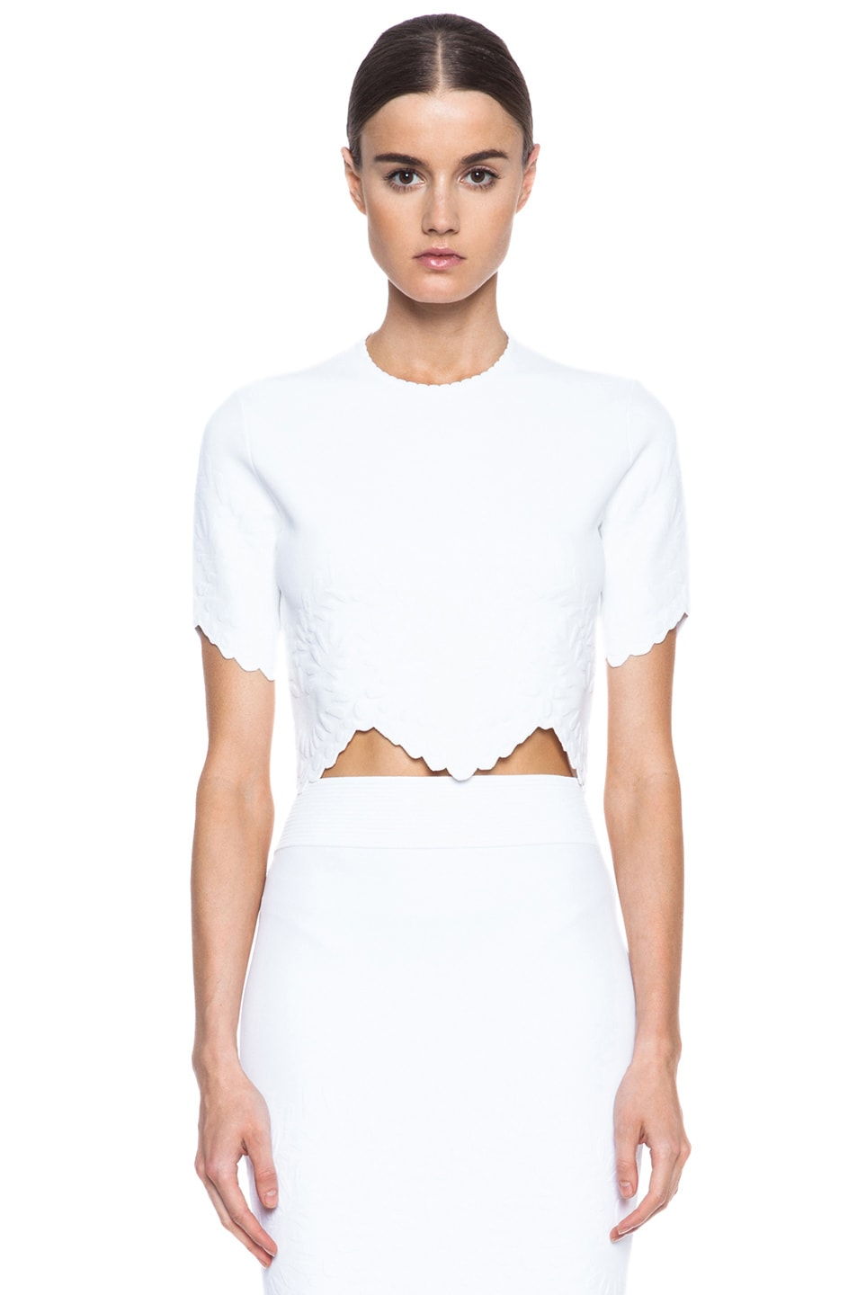 8d7b18a93c67 Alexander McQueen Embossed Knit Crop Top in White