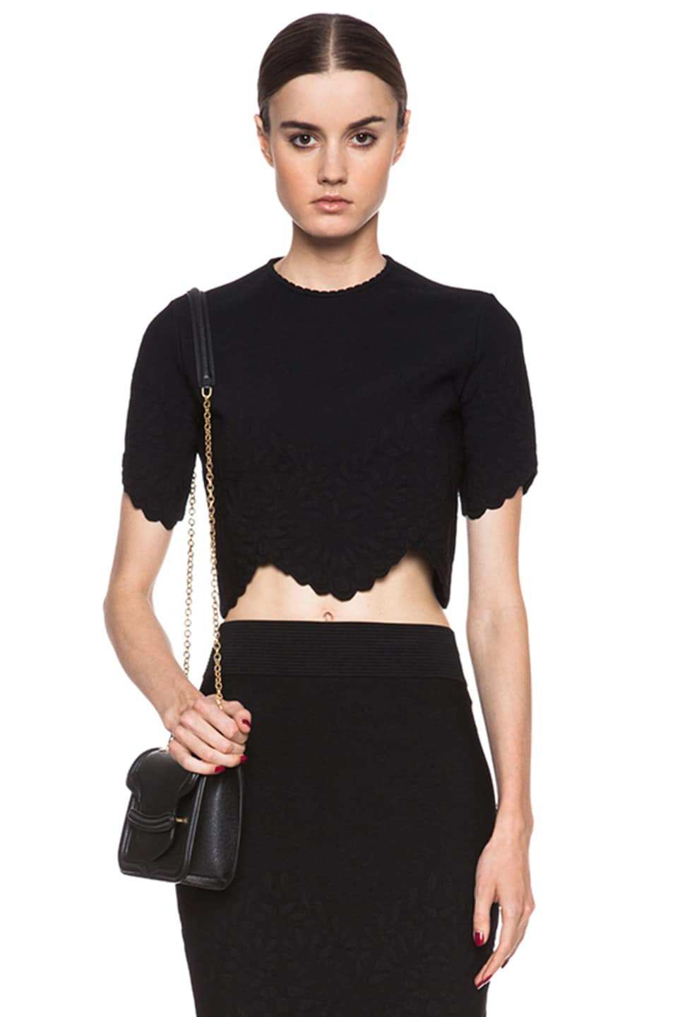 d84608f413c0 Alexander McQueen Embossed Knit Crop Top in Black