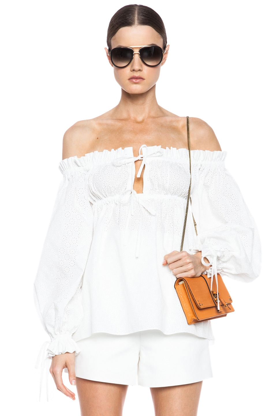Image 1 of Alexander McQueen Off The Shoulder Drawstring Top in Ivory