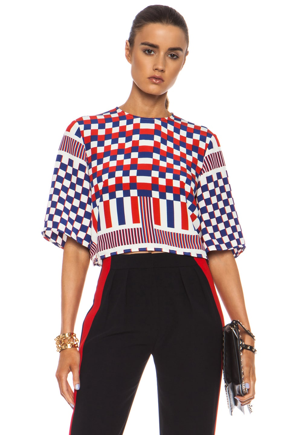 Image 1 of Alexander McQueen Geometric Print Silk-Blend Crop Top in White, Red & Blue