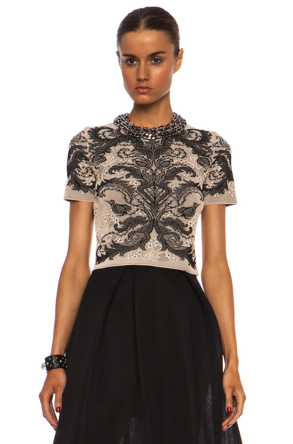 f236785b79082 Image 1 of Alexander McQueen Baroque Spine Lace Crop Top in Powder   Black