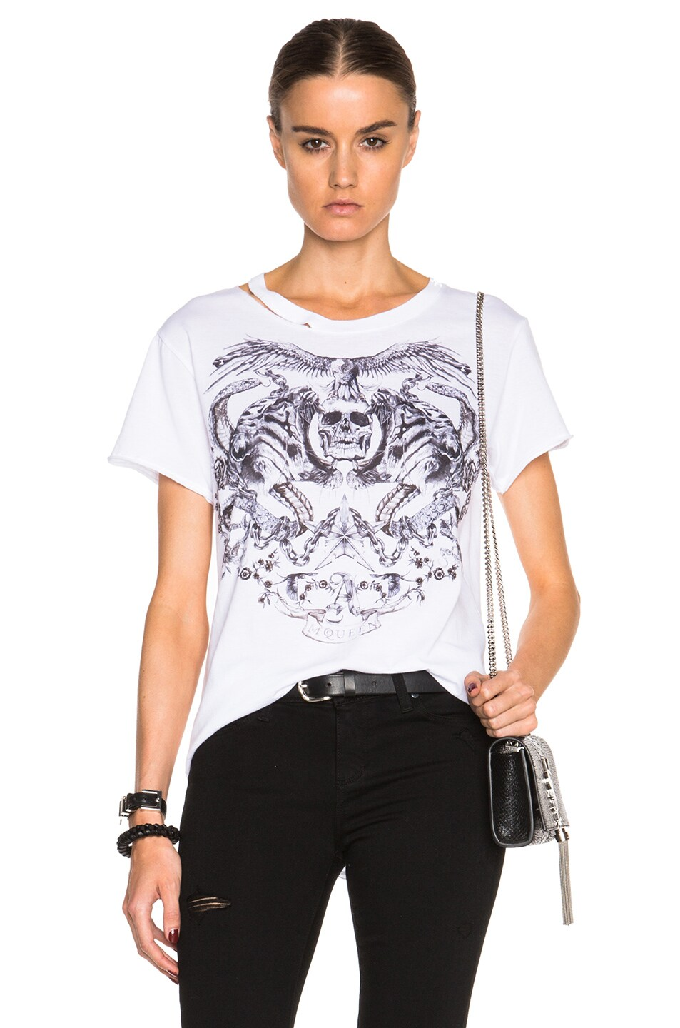 Image 1 of Alexander McQueen Tattoo Print Rock Tee in White
