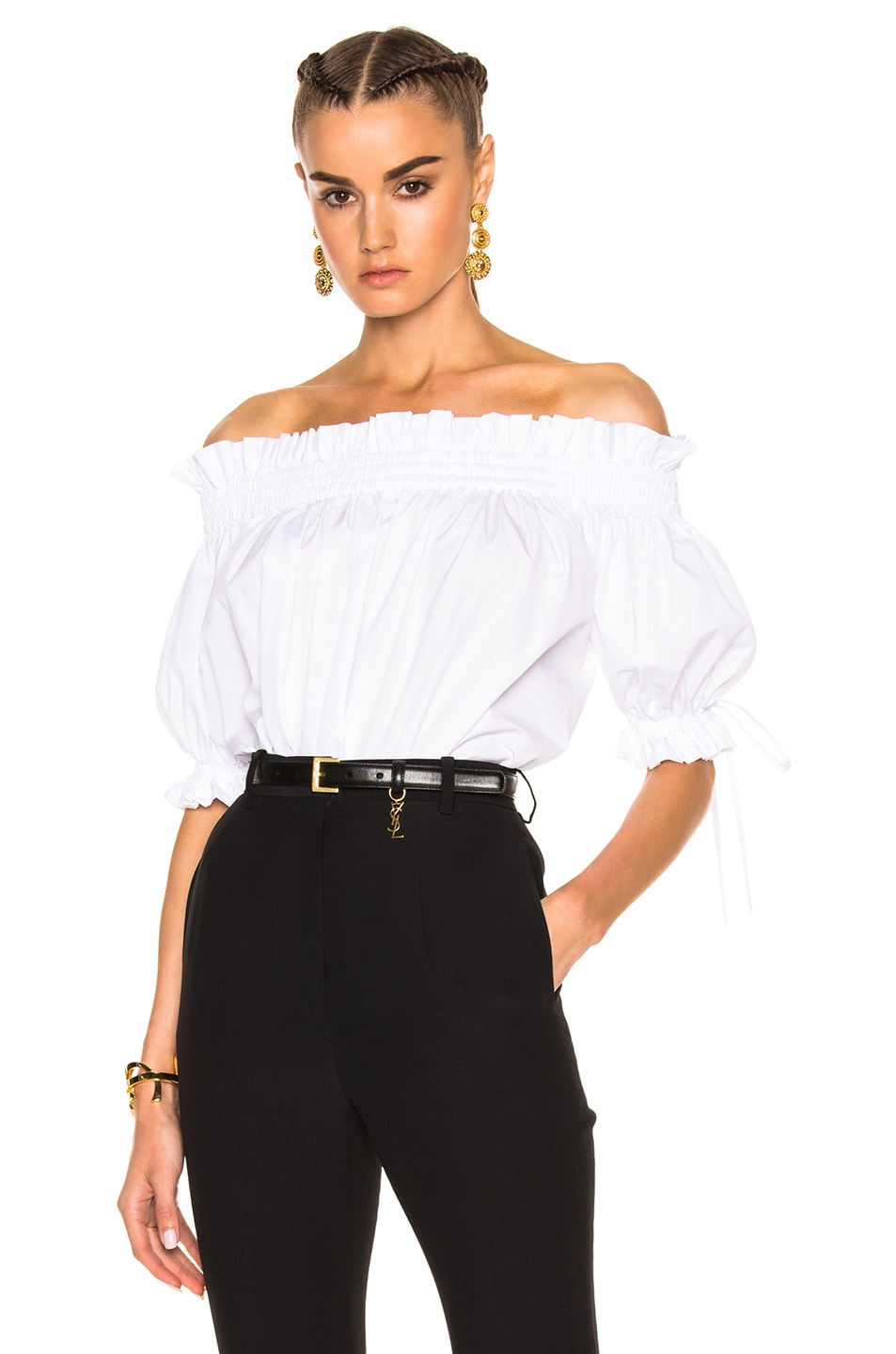 Image 1 of Alexander McQueen Off the Shoulder Blouse in White