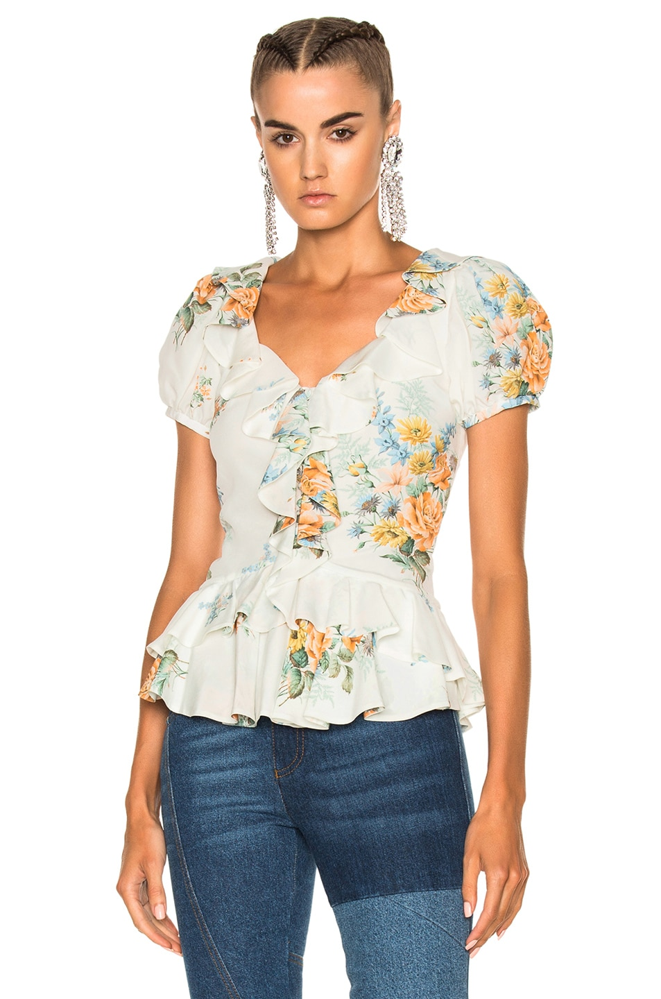 Image 1 of Alexander McQueen Printed Ruffle Blouse in Ivory