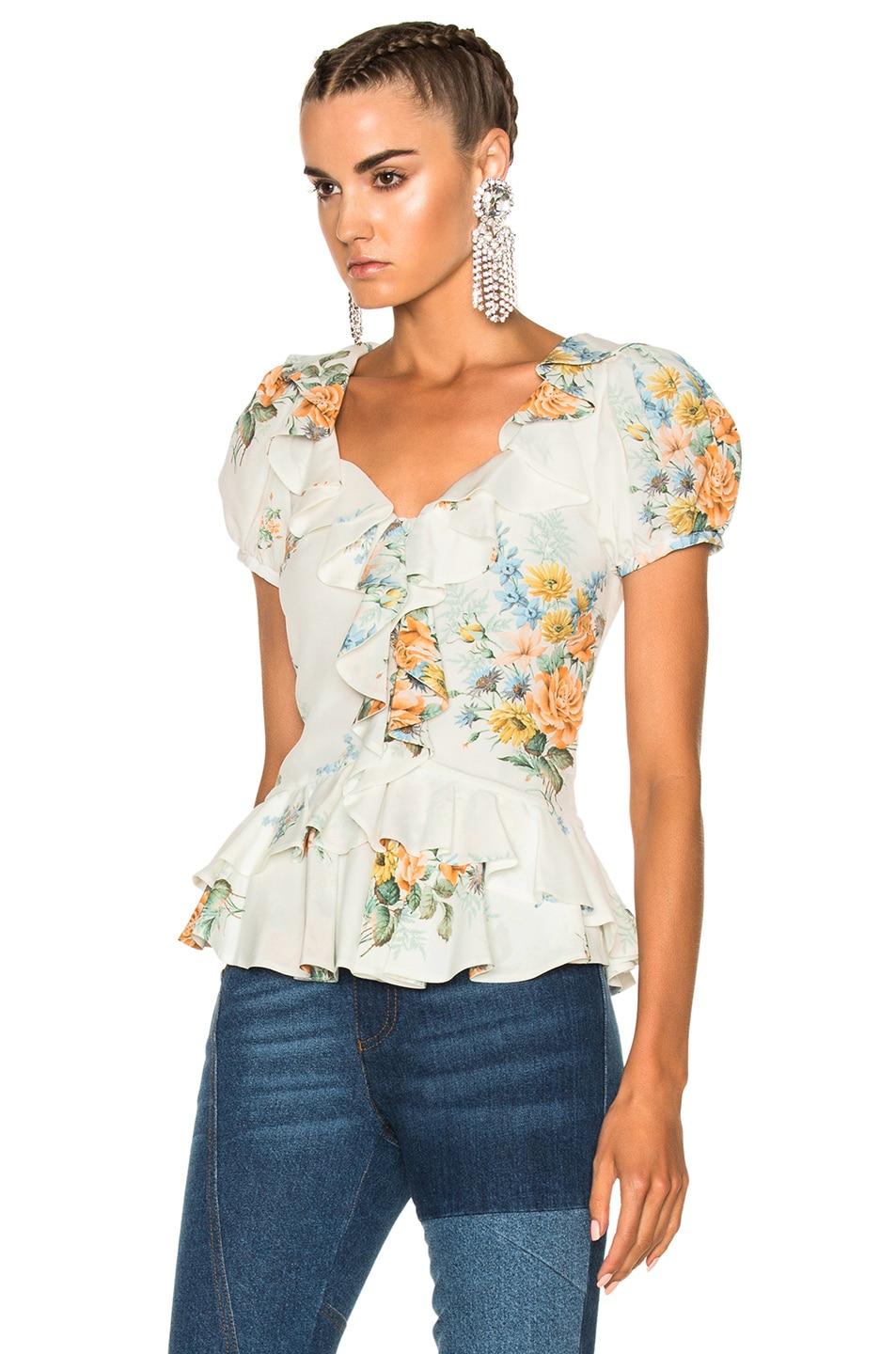 Image 2 of Alexander McQueen Printed Ruffle Blouse in Ivory