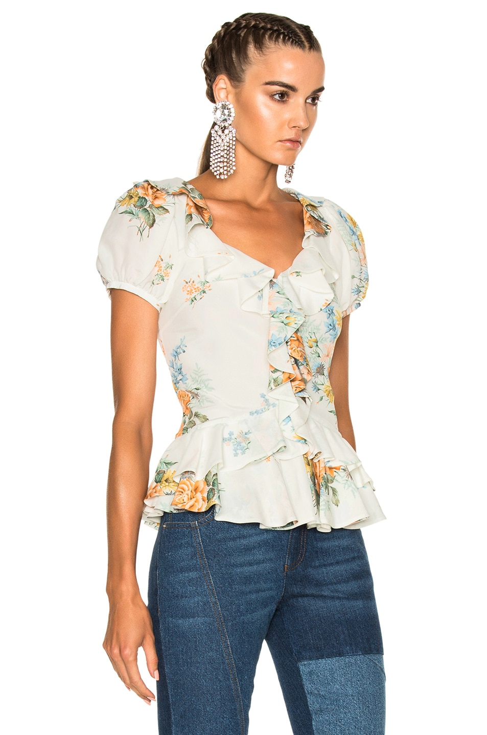 Image 3 of Alexander McQueen Printed Ruffle Blouse in Ivory