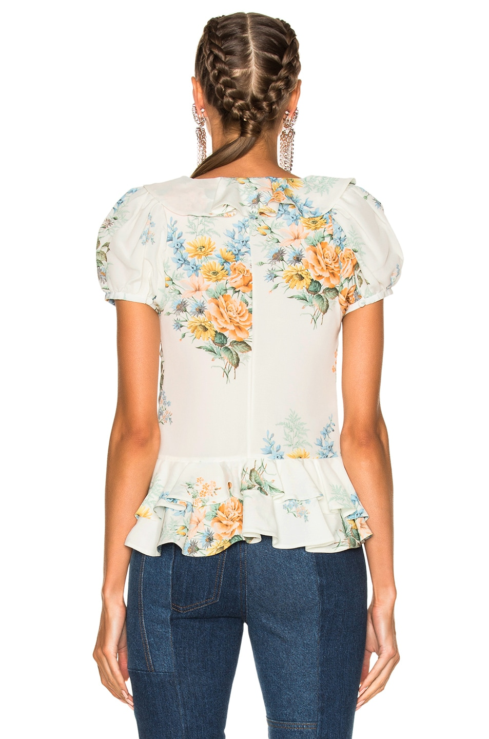 Image 4 of Alexander McQueen Printed Ruffle Blouse in Ivory