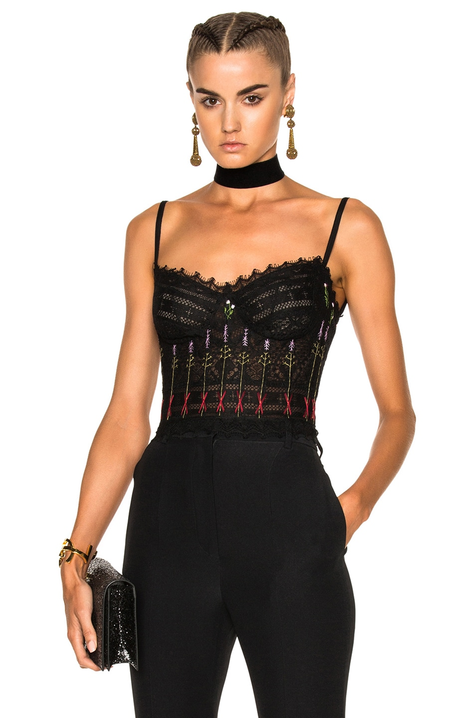 Image 1 of Alexander McQueen Lace Bustier in Black acab7a390