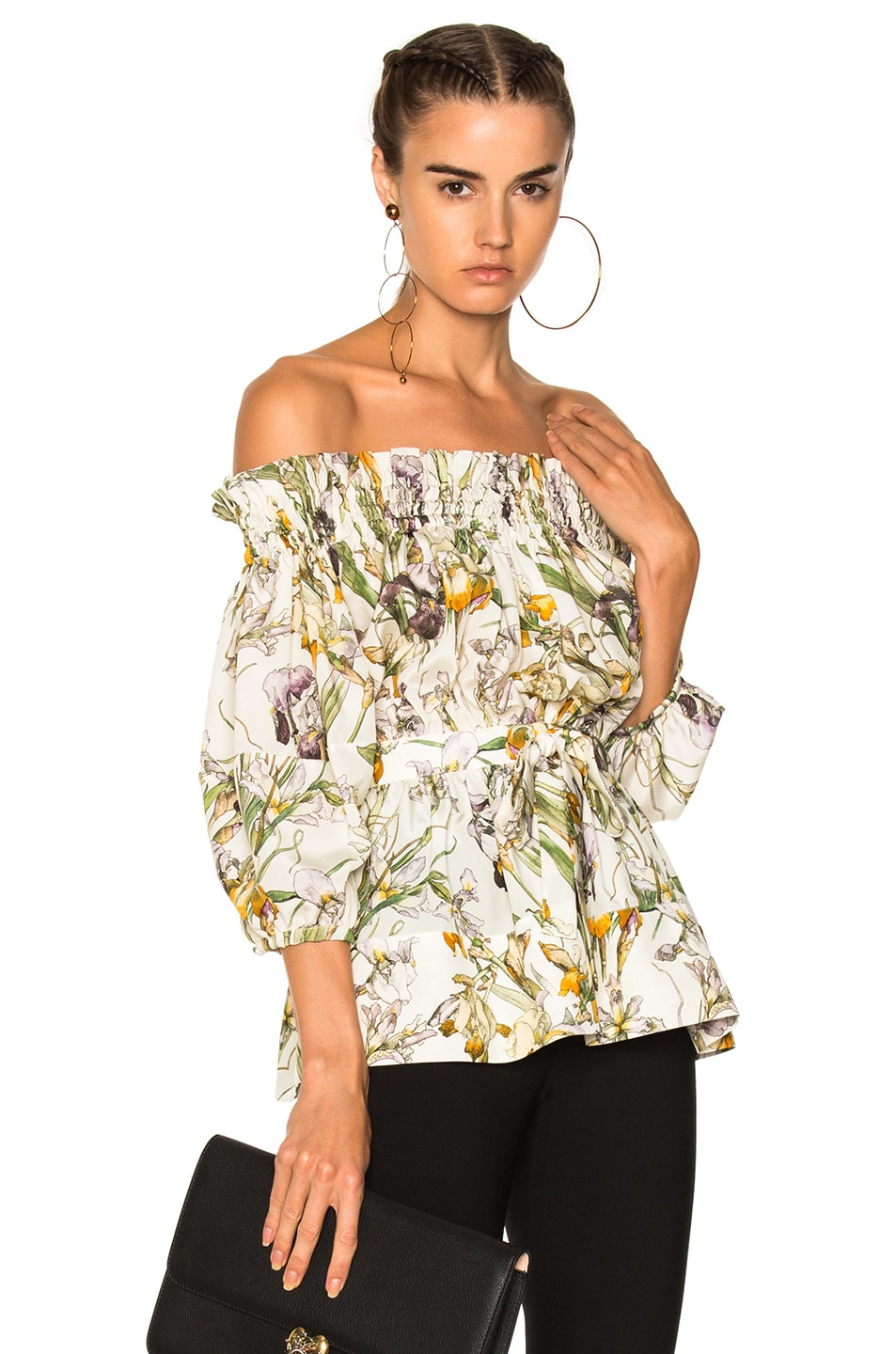 Image 1 of Alexander McQueen Wild Iris Print Off Shoulder Blouse in Ivory Mix