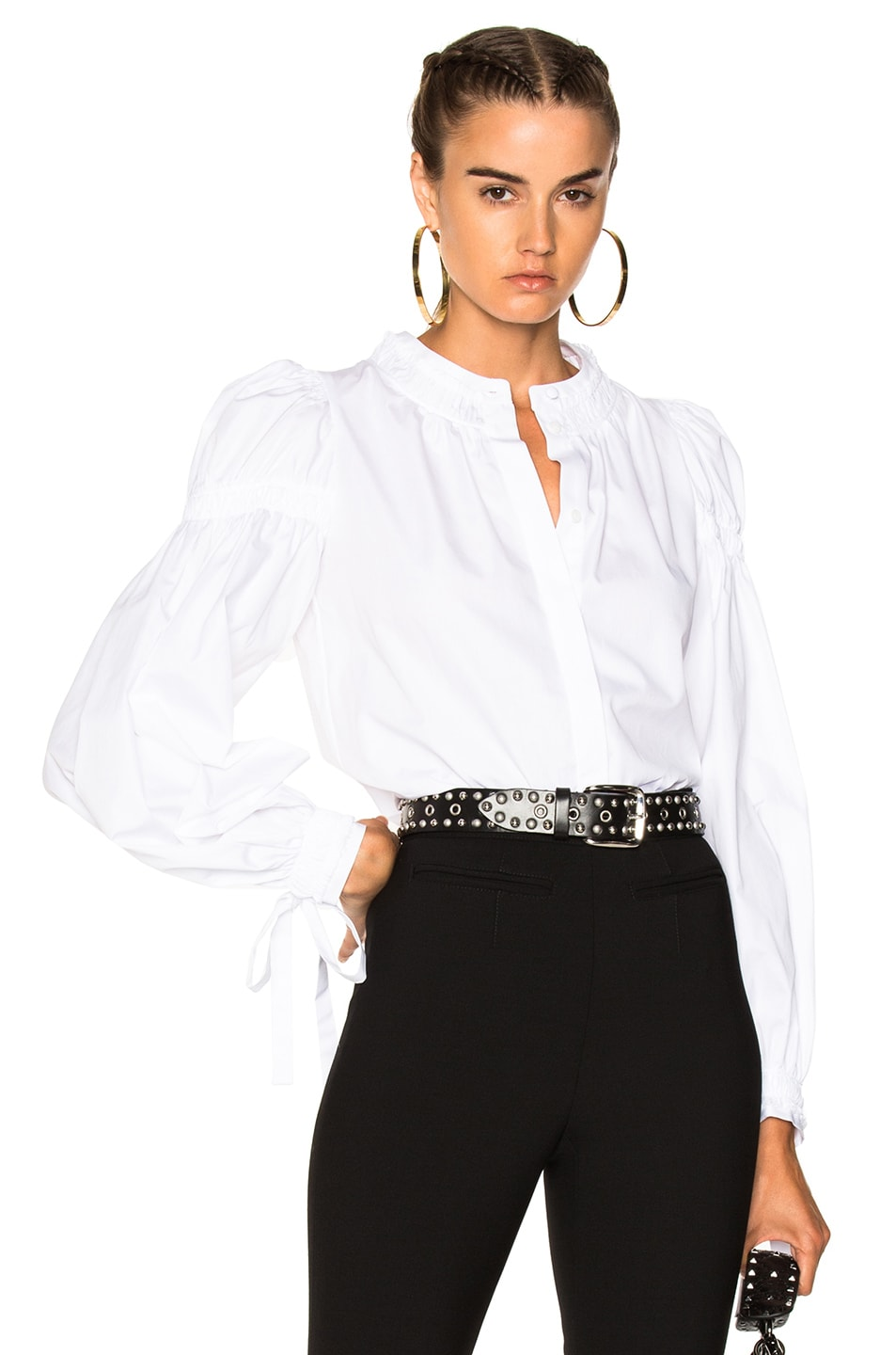 Image 1 of Alexander McQueen Popeline Ruched Sleeve Shirt in White