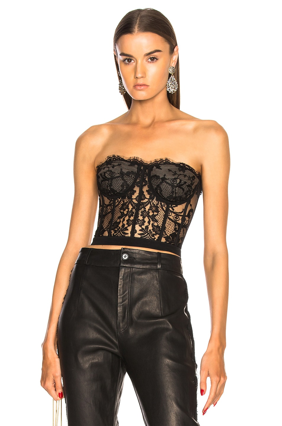 Image 1 of Alexander McQueen Lace Bustier in Black