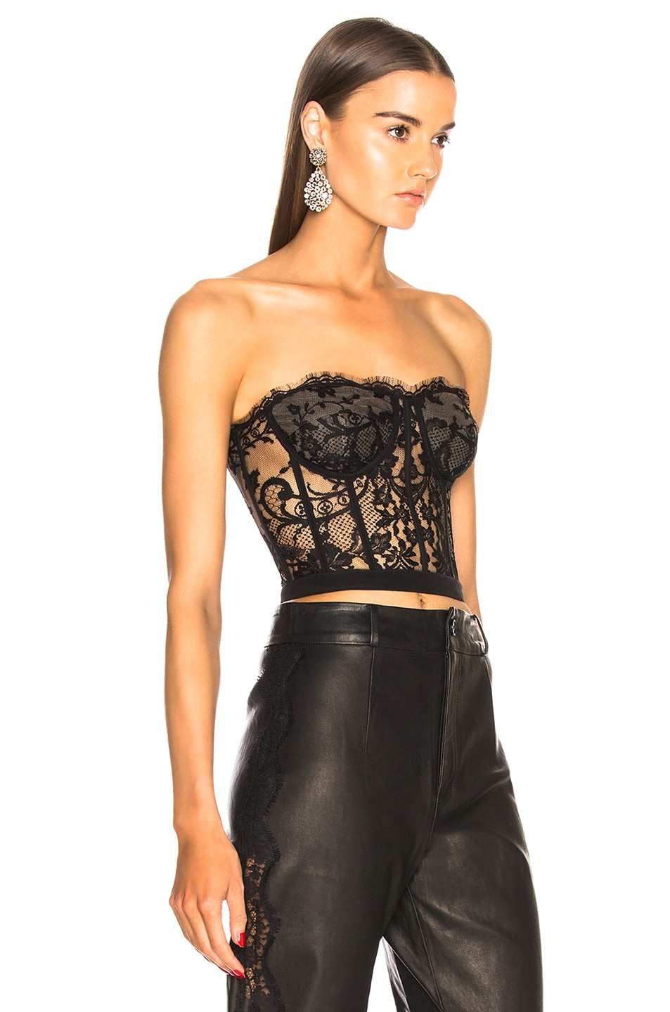 Image 2 of Alexander McQueen Lace Bustier in Black