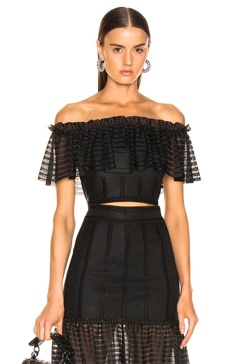 Image 1 of Alexander McQueen Off the Shoulder Top in Black
