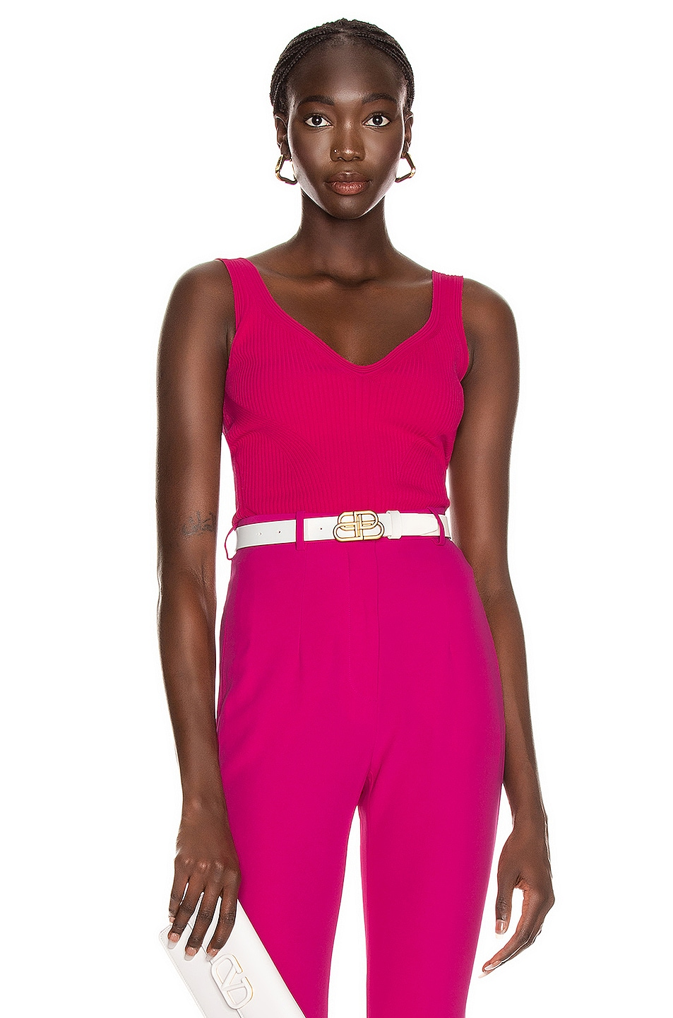 Image 1 of Alexander McQueen V Neck Tank Top in Orchid Pink