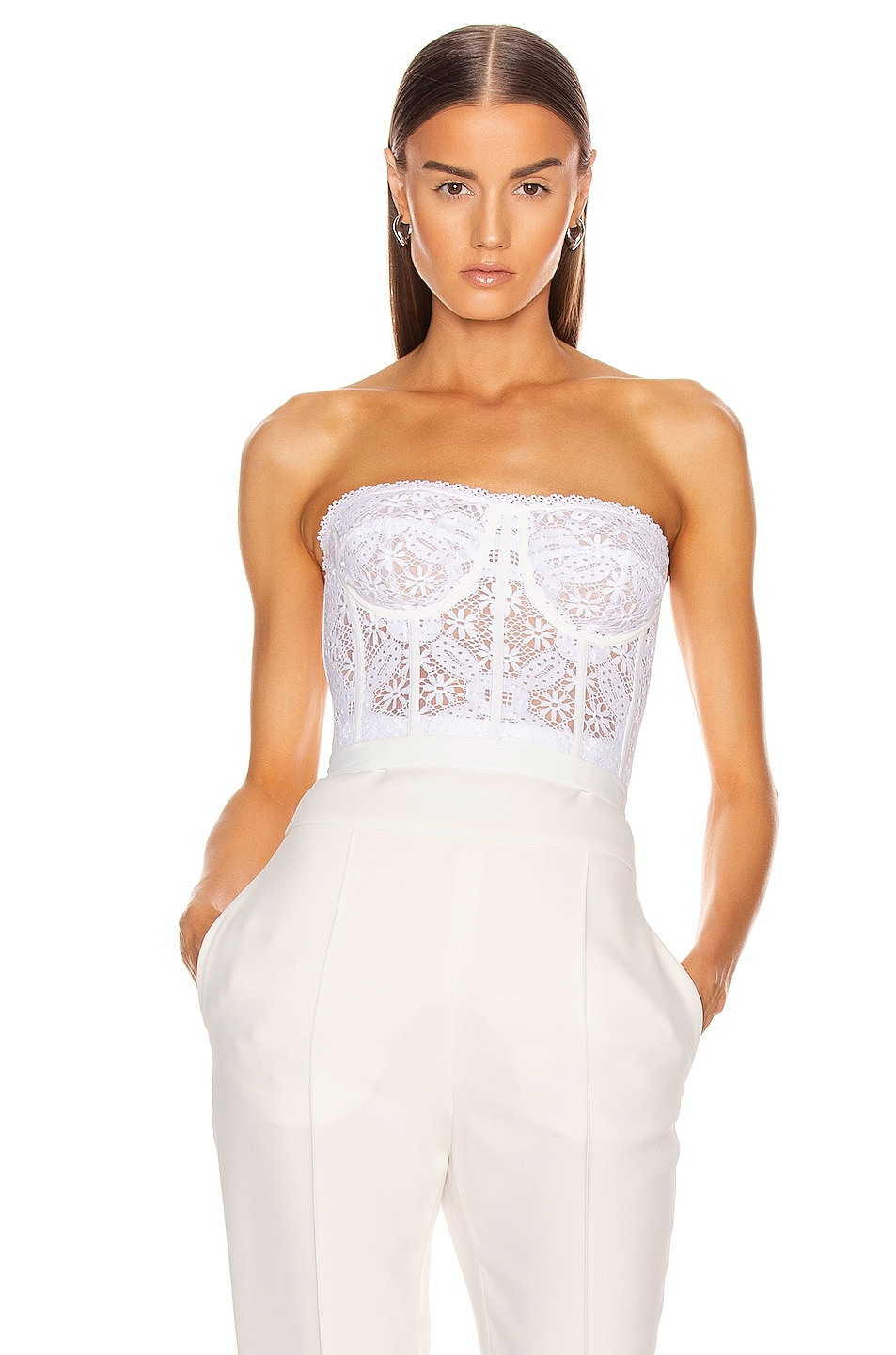Image 1 of Alexander McQueen Lace Bustier Top in Optical White