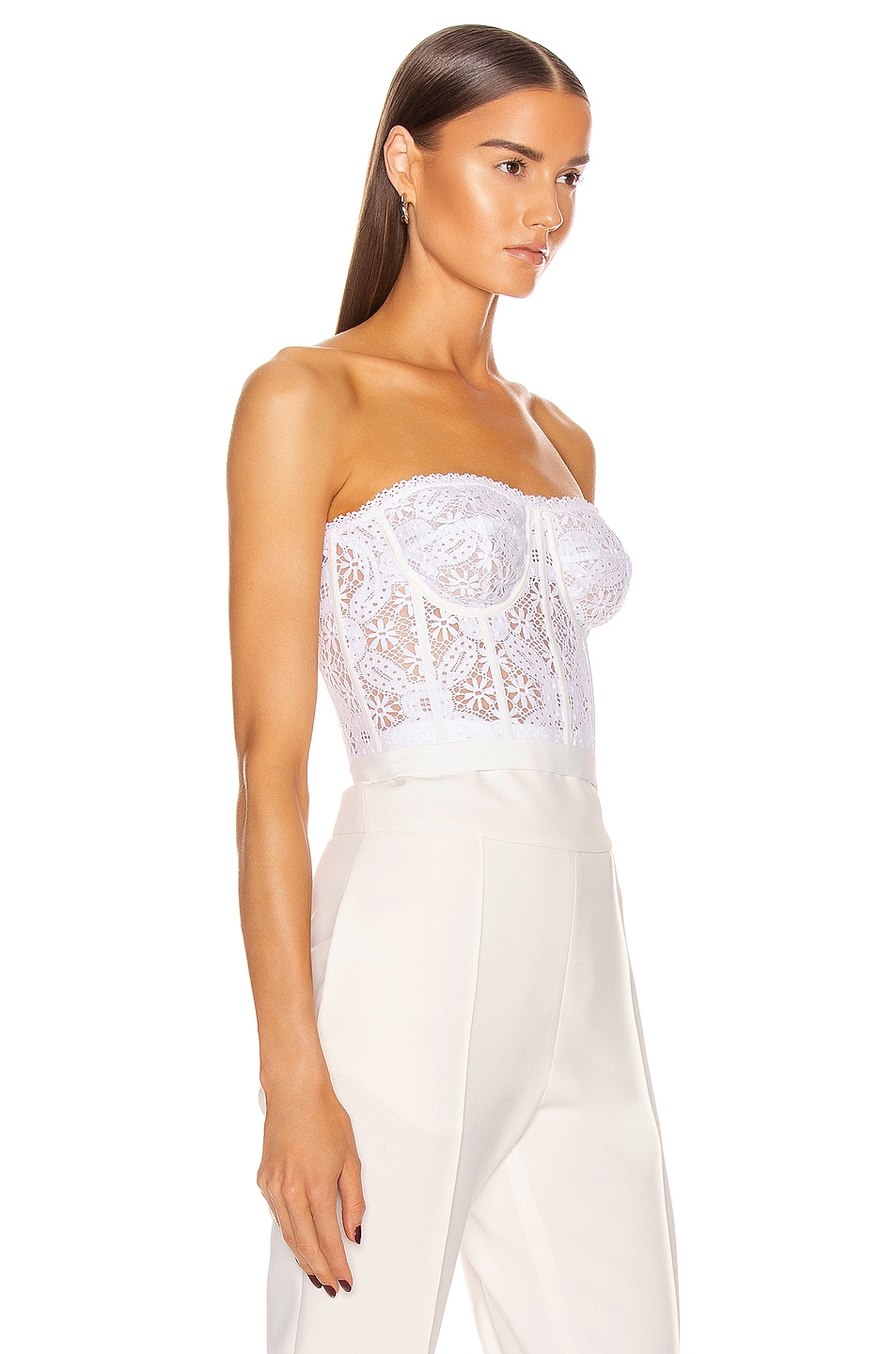 Image 2 of Alexander McQueen Lace Bustier Top in Optical White
