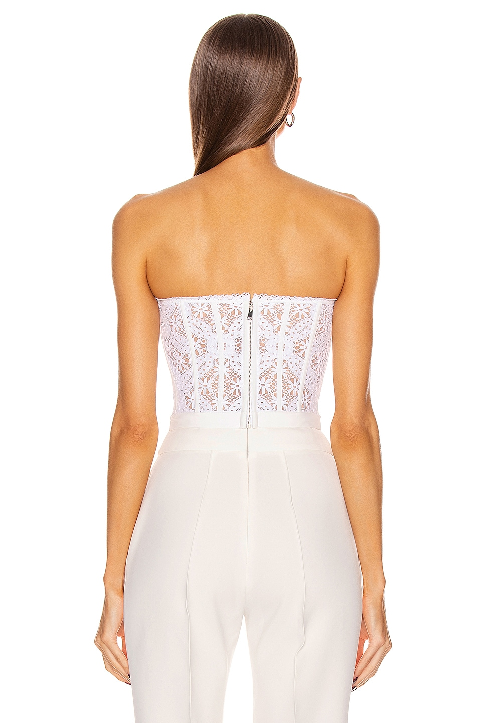 Image 3 of Alexander McQueen Lace Bustier Top in Optical White